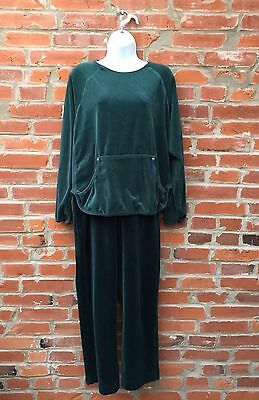 Vintage Velour Tracksuit Sweatsuit Womens Green Kangaroo Pocket (1086)