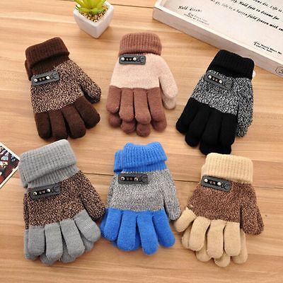 Knitted Gloves Full Finger Mittens Winter Warm Gloves Finger  Protector