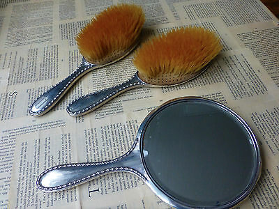 Solid Silver Vanity/Dressing table Set with Hallmark, 1913, 2 Brushes and Mirror