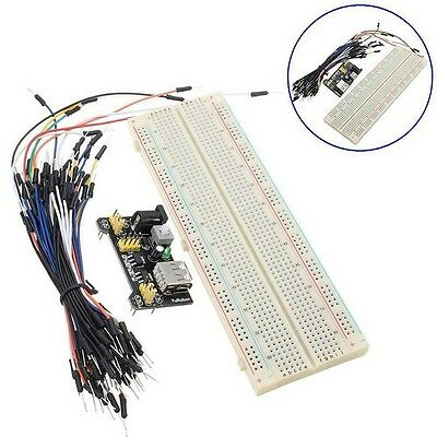 Cable Wires Breadboard Board 830 Point +Power Supply Module 3.3V 5V Solderless