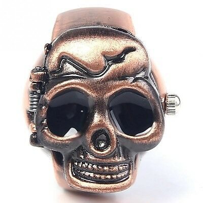 Fashion Skull Punk Unisex Clamshell Men Elastic Party Finger Ring Design Watch
