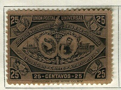 GUATEMALA;  1897 early classic issue Mint hinged 25c. value