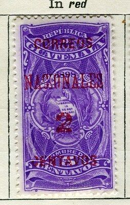 GUATEMALA;  1898-1902 classic surcharged(R) issue Mint unused 2c. value
