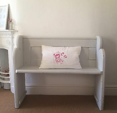 Victorian Small Pine Pew - Farrow & Ball Paint - Cabbages Shabby Chic