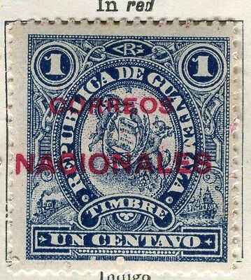 GUATEMALA;  1898-1902 classic surcharged(R) issue Mint unused 1c. value