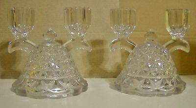 Vtg  Pair Imperial Glass Clear Diamond Cut Design Double Candle Stick Holders