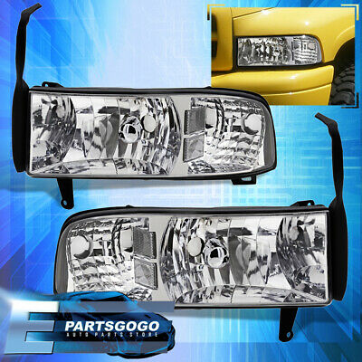 For 1994-2001 Dodge Ram Pick Up Truck 1Pc Euro Headlights Chrome 1500 2500 Pair