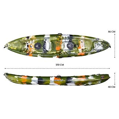 Double Fishing Kayak Tandem 2+1 Two Person Sit on Top Seat Paddle Melbourne Camo
