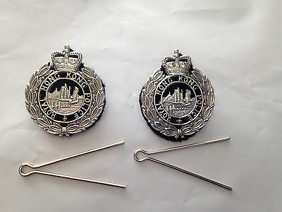 Collectible Obsolete Royal Hong Kong Police Force Officer Collar Badges,2 pieces