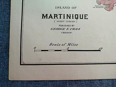 "MARTINIQUE ISLAND TOPO Map 1901 Antique Original Crams 11""x14.5"" Old MAPZ211"