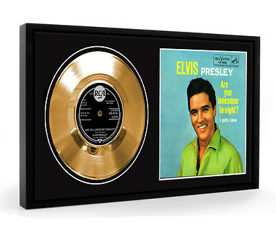 Elvis Presley Are You Lonesome Tonight Framed Gold Disc Display Vinyl (LO)