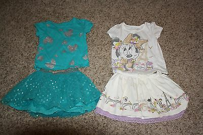 Lot of 4 Girls Size 5 5T Skirts Shirts Matching Outfits Clothing Disney