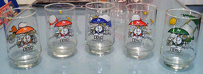 Set Of 5 Vintage Ziggy Drinking Glasses 7Up Tom Wilson Excellent Condition