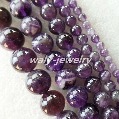 4/6/8/10/12mm Uncommon Natural Amethyst Round Ball Loose Bead 15.5 inch ZLX-60