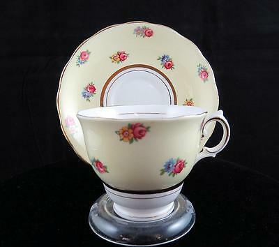 """Colclough England Vintage #6547 Floral & Yellow 2 5/8"""" Footed Cup & Saucer"""