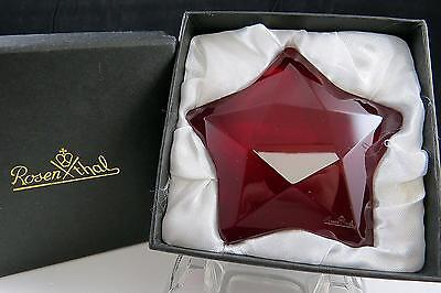 "Rosenthal Crystal Signed Ruby Faceted Star Shaped 3 1/2"" Paperweight In Box"