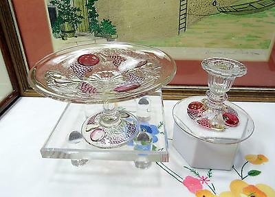 """2 Pc Westmoreland Della Robbia Dark Flashed 3 3/4"""" Mint Compote & Candlestick"""