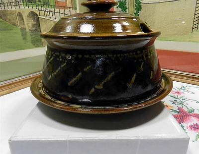 """Sm Pottery Hand Thrown 7 1/2"""" Brown Soup Tureen With Notched Lid & Underplate"""