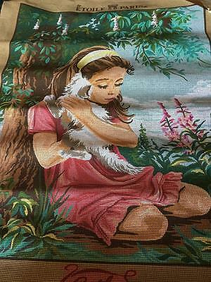 Vintage Rare Embroidery/ Tapestry - Portrait / Girl & Dog - Great Price