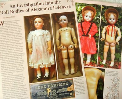 4p History Article + Color Pics - Antique French Alexandre Lefebvre Doll Bodies