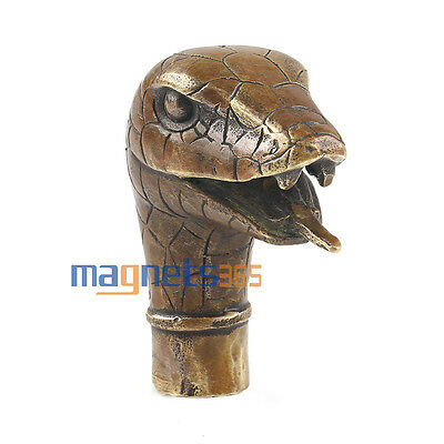 Asian Chinese Old Bronze Handmade Carved Snake Collect Statue Walking Stick Head