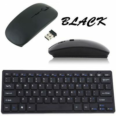 USB 2.4GHZ Wireless Slim Keyboard and Cordless Mouse Combo Kit Set for PC Laptop