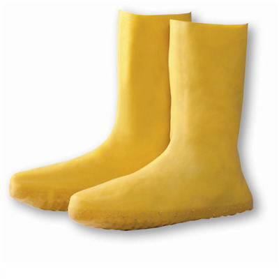 Hazmat Yellow Protective Latex Boot/Shoe Cover, Size Large