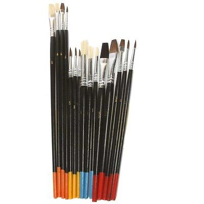 Artist Painting Brush Set 15 Natural Hair Brushes Hobby Craft Paint Kit Supplies