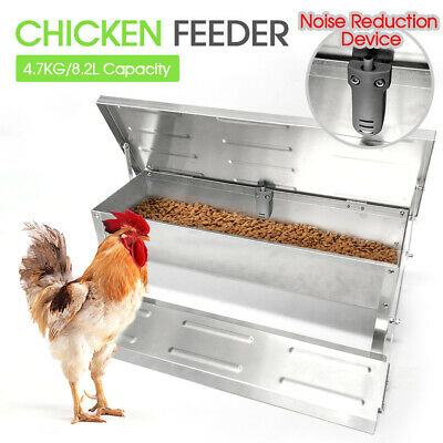 4.7Kg Automatic Chicken Food Feeder Treadle Self Opening Feed Galvanized Silver
