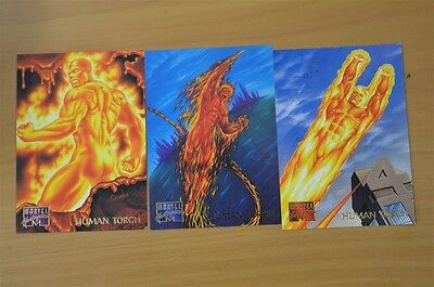 Marvel Masterpieces Trading Cards: Human Torch: 1995: Set of 3 (43, 44, 45)