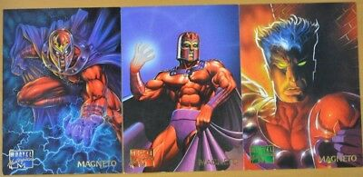 Marvel Masterpieces Trading Cards: Magneto: 1995: Set of 3 (61, 62, 63)