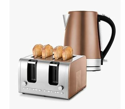 New 4 Slice Toaster 1.7L Kettle Bundle Stainless SteelCopper KitchenSet Electric