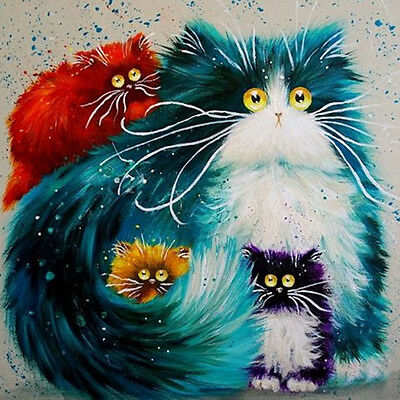 5D Diamond Embroidery Painting DIY Colourful Cat Mosaic Stitch Craft Wall Decor