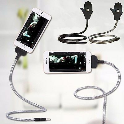 Flexible Stand UP USB Charging Sync Data Cable Phone Charger Holder For iPhone