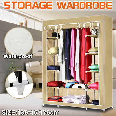 Large Wardrobe Storage Portable Bedroom Double Stable Easy Assemble AU Stock