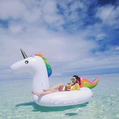 Inflatable Giant Unicorn Rainbow Pool Water Float Adults Children Raft Toy Gifts