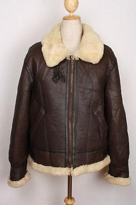 Vtg B-3 Sheepskin Leather Flight Jacket Size Medium