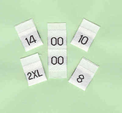 Woven Size Labels - Size Tabs - Pack of 50 - Black on White