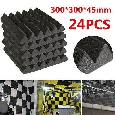 24PCS AFW305 Pro Acoustic Foam Wedge Tiles Studio Sound RoomTreatment 300mm UK
