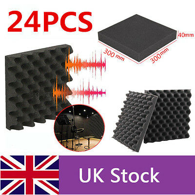 24X Acoustic Foam Egg Panels Tiles Studio Sound Proofing Treatment Absorption UK
