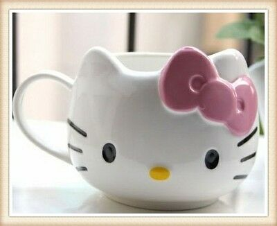 A Lovely Hello Kitty Cat Cup Tea Milk Coffee Mug White Pink Bowknot Gift