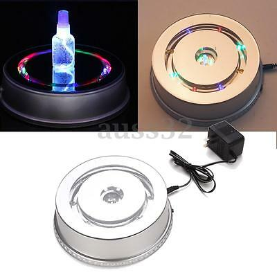 360° LED Mirror Top Rotating Turntable Display Stand Power By AC220V Load 5kg