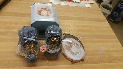 Lot of 4 Beatrix Potter's Mrs Tiggy Winkle Figurine sewing, tin, patch oval glas