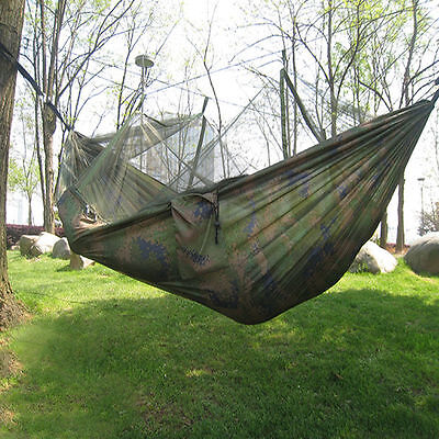 Camoflage Travel Jungle Camping Hammock Garden Hanging Nylon Bed + Mosquito Net