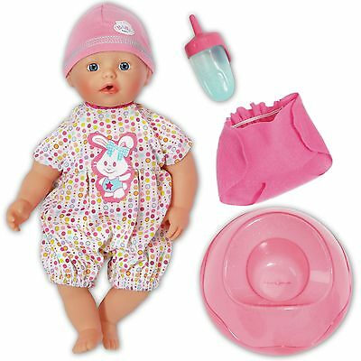 """My Little BABY Born 13"""" Doll Bathing Fun And Potty Romper Hat Nappy Bottle Boxed"""