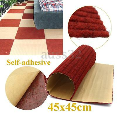 """Red Carpet Tiles Rug Blanket 18"""" 45cm 1.5 ft Square Peel and Stick Self-adhesive"""