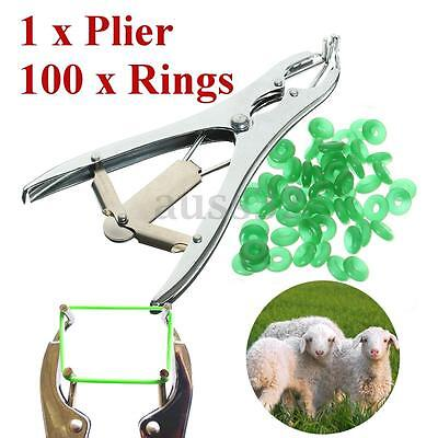 1 Plier for Sheep Cattle Castration Banding Tail Applicator Farm w/ 100 Rings