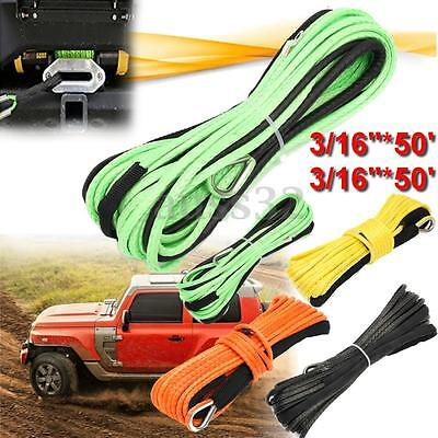 3/16'' 50ft 4500lbs 5500lbs And 1/4''x50' 7000lbs Synthetic Winch Rope Cable