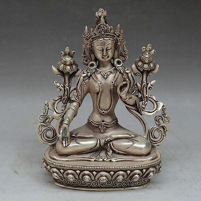 Collectible Old Carved Silver Plate Copper Buddhism Big Green tara Buddha Statue