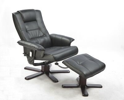PU Leather Massage Chair Recliner Ottoman Lounge Office Remote BLACK